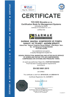 ISO 9001 Quality Management Certificate